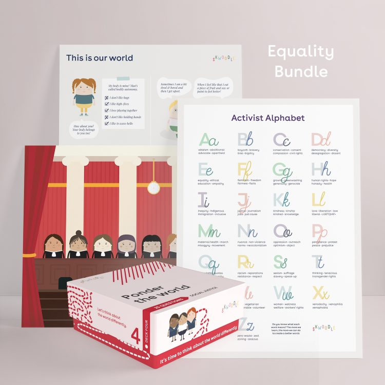 Equality social justice kids feminism sexism racism ableism gift Skwoodle Kids