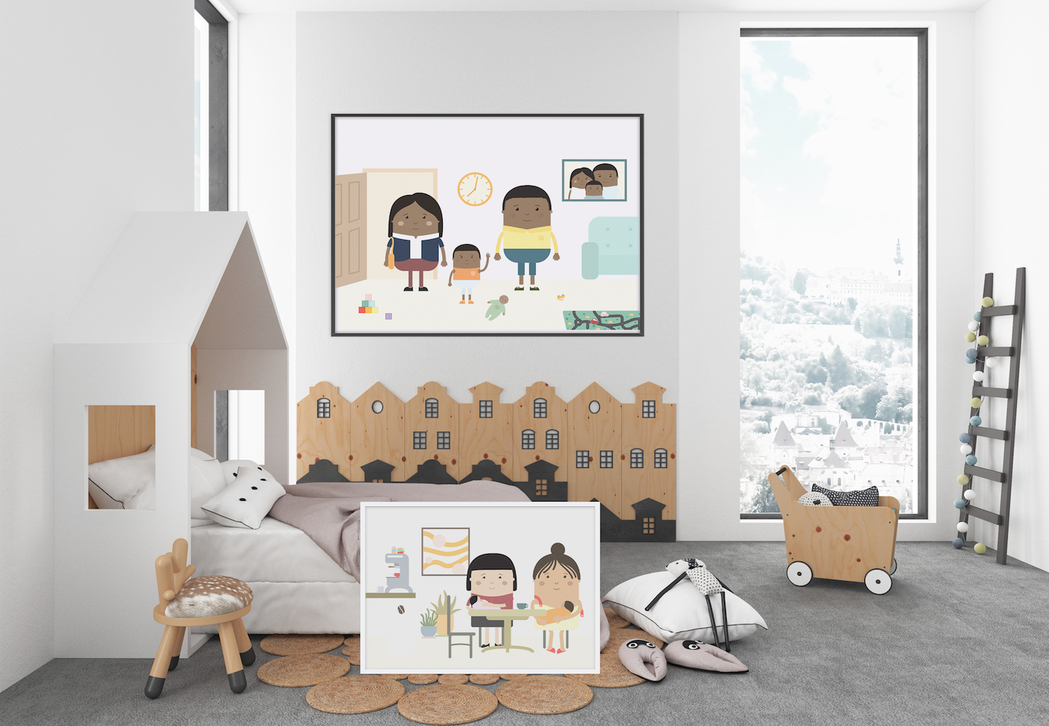 Stay at home dad african american family poster - Skwoodle stereotypes activism feminism - working mum CEO