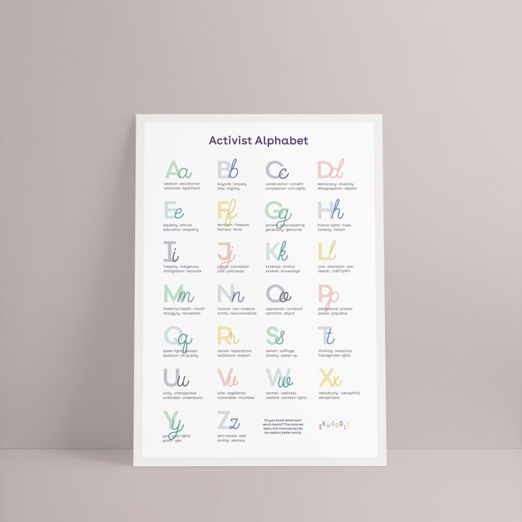 Activist alphabet kids adults interior design posters Skwoodle