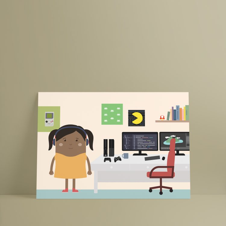 Woman of color game developer designer Skwoodle kids posters