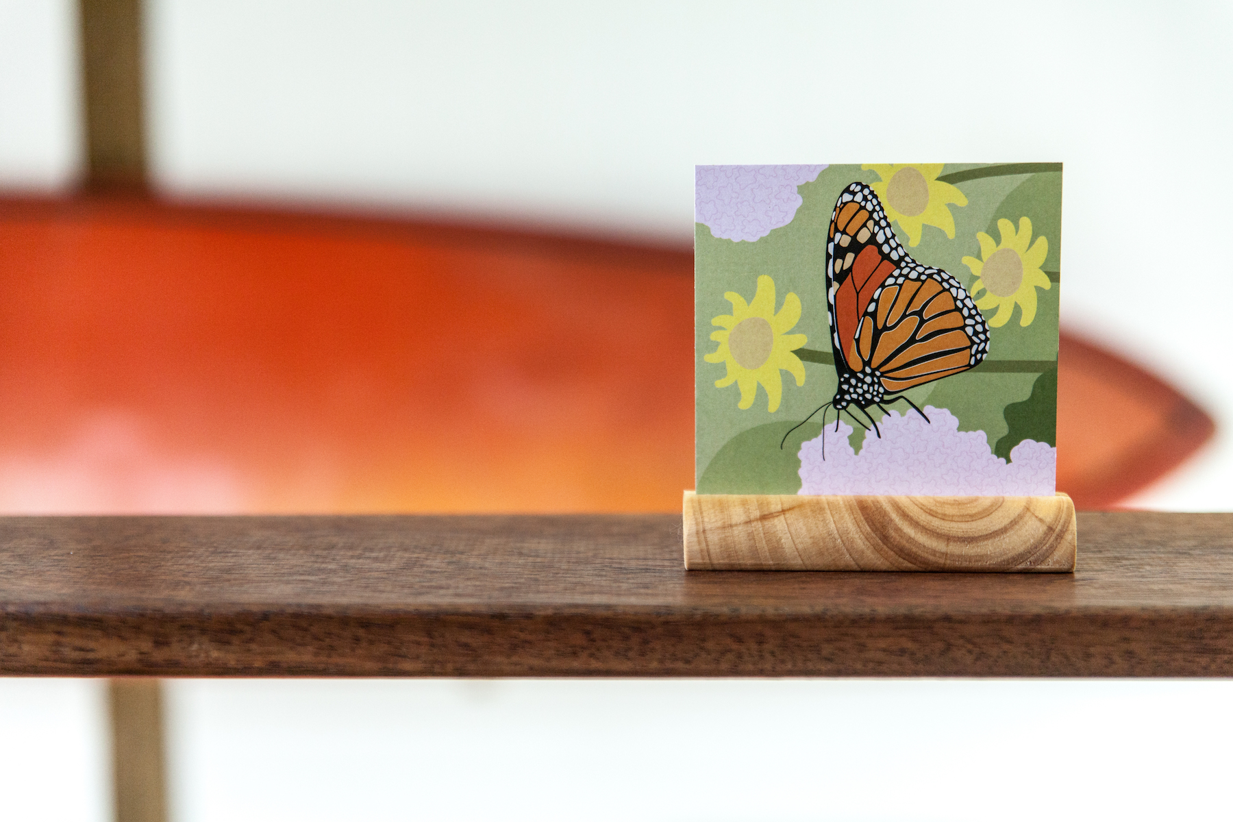 Handmade wood stand photo block cards Skwoodle handcrafted sustainable recyclable